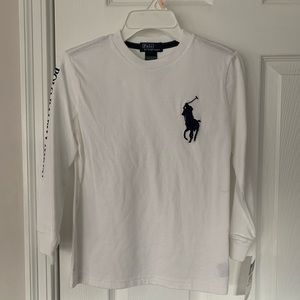 Boys Size 7 long sleeves Polo R&L. White. New